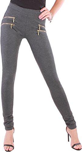 BD Damen High Waist Stretch Hose Jeggings Röhrenhose in schwarz, grau, weiß, blau oder beige mit Zierzippern bis Übergröße Dunkelgrau