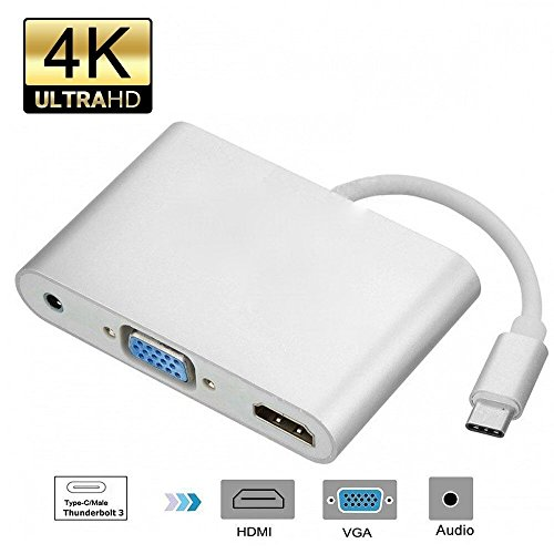 Auslese™ USB Type C to HDMI & VGA Adapter, Plug and Play USB 3.1 Type C to VGA HDMI 4K UHD Converter Adaptor with 3.5mm Audio Port for MacBook ChromeBook and more