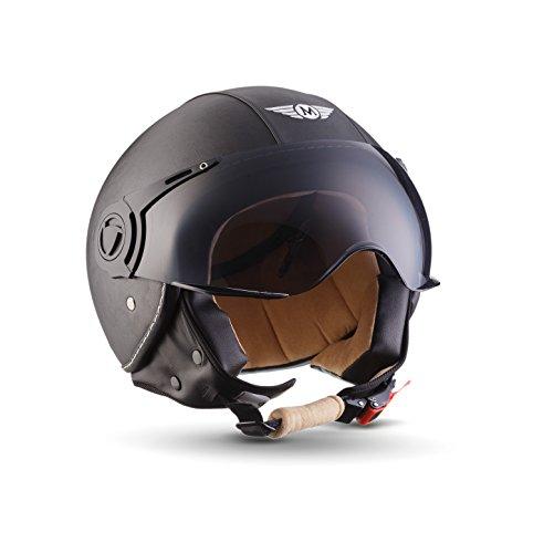 Moto Helmets H44 Leather Black · Cruiser Bobber Vintage Vespa-Helm Biker Chopper Retro Mofa Moto Helmetsrrad-Helm Jet-Helm Helmet Pilot Scooter-Helm Roller-Helm · ECE zertifiziert · inkl. Sonnenvisier · inkl. Stofftragetasche · Grau · XL (61-62cm)