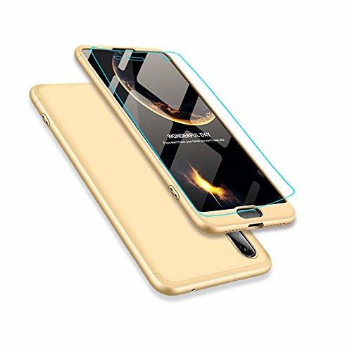 Huawei p20 Hülle, DYGG Flexiblem PC Hybrid Schutzhülle Kohlenstoff-Fasern Tasche Slim-Fit Case für Huawei p20 Gold
