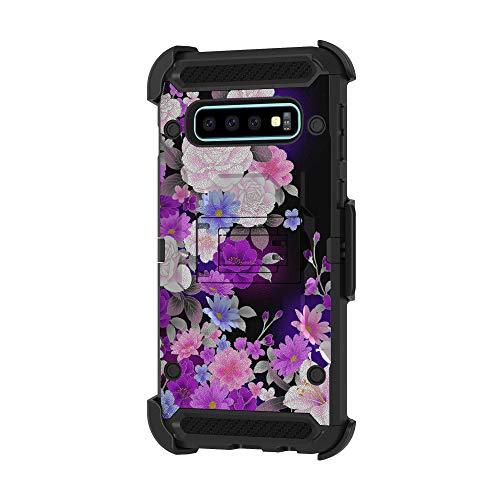 TurtleArmor Schutzhülle für Samsung Galaxy S10+ / S10 Plus Hülle, G975 [Armor Pro] Schutzhülle mit Gürtelclip, dreifach belastbar, robust, Flower Garden