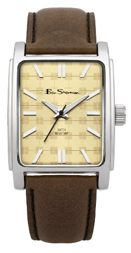 Ben Sherman Men's Quartz Watch with Beige Dial Analogue Display and Brown PU Bangle BS033