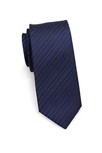 Puccini Elegante schmale Krawatte, modernes Streifendesign, 2 verschiedene Farben, Mikrofaser, 6 cm Skinny/Slim Tie, Handarbeit (Dunkelblau)