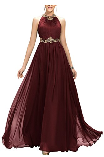 Beyonddress Damen Wulstiges Jeweled Langes Abschlussball AbendKleid mit Goldgürtel(Burgund,44) (Kleid Jeweled Chiffon)