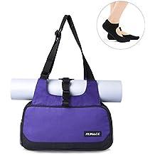 RUNACC Elegante Borsa per Tappetino Yoga Esercizio a Tracolla da Donna Leggero donna vettore di yoga set - Borsa Borsetta Borsa di Tela per Fitness Pilates/full-zip/1 Paio di Yoga Toesocks, Purple