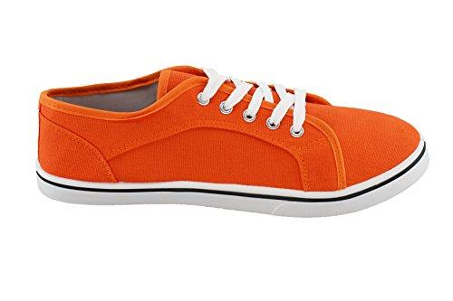 brandsseller Damen Freizeitschuh Leinenschnürer Sneaker Uni -Schwarz, Weiß, Braun, Sand, Orange, Gelb und Grün - Gr 36-41 von Orange