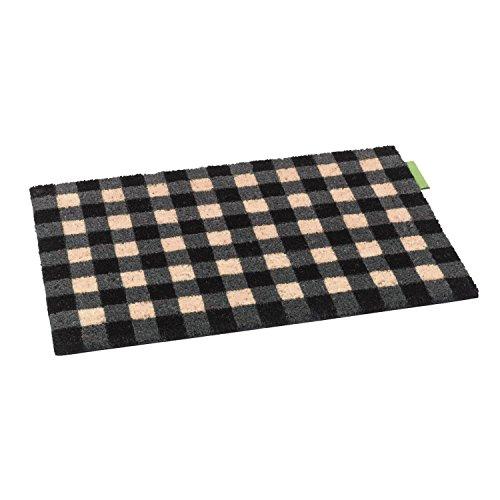 Schmutzfangmatte / Fußmatte / Fussmatte / Fußabstreifer / Fußabtreter / Schmutzmatte - Outdoor - karriert - schwarz beige grau - Modell Kokos 40 x 60 cm
