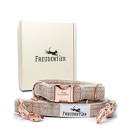 Freudentier® Hundeleine (2m) + Hundehalsband im Set   Inkl. Geschenkbox   Außergewöhnlich Elegant & Verstellbar