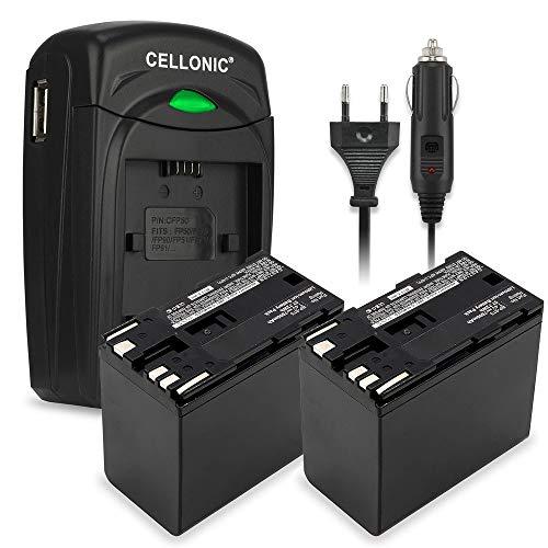 CELLONIC 2X Batterie Premium Compatible avec Canon EOS C100 C300 XF100 XF200 XF205 XF300 XF305 CP910 XH-A1 XL-H1 XM2, BP-975 BP-955 BP-925 BP-970 7800mAh + Chargeur Accu de Rechange Remplacement