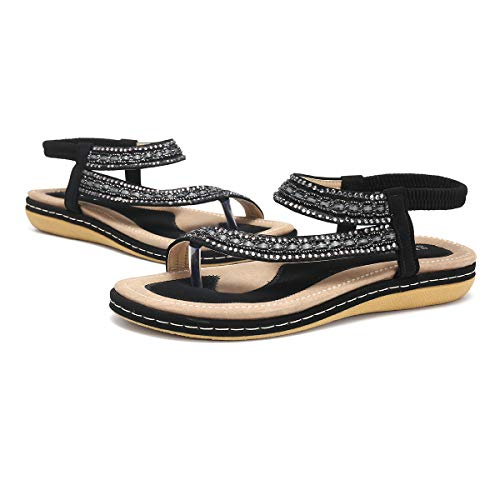 Gracosy Sandalias Planas Verano Mujer Estilo Bohemia Zapatos para Mujer de Dedo Sandalias Talla Grande...