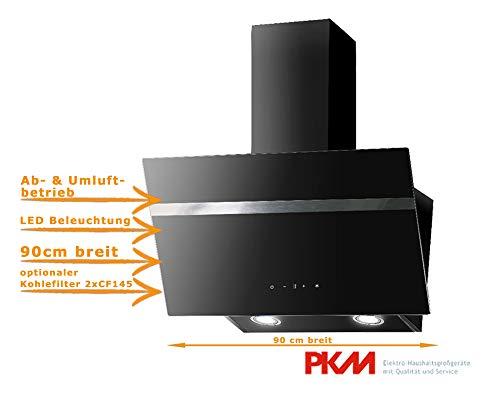 Dunstabszugshaube Schwarz | 90cm Breit | Randabsaugung | Touch Control & LED Beleuchtung | EEK A | 415m³/h - 616m³/h Luftstrom | Abluft- und Umluft
