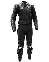 Tschul® Lederkombi Motorradbekleidung Biker Anzug Zweiteiler Motorradkombi Schwarz/Weiß, Size: 54
