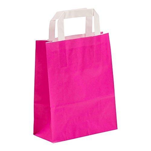 200x Papiertragetasche Einkaufstasche Beutel Street Color 18x8x22 cm Pink