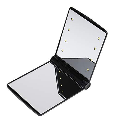 Frcolor Espejo de Maquillaje de Aumento con 8 LED con Doble Cara Plegable Para Maquillaje de Viaje Negro...