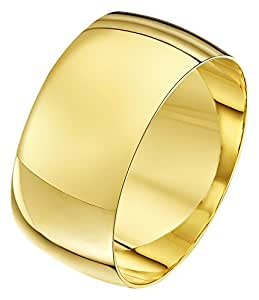 Theia Unisex Heavy Weight 10 mm D Shape 9 ct Yellow Gold Wedding Ring - H