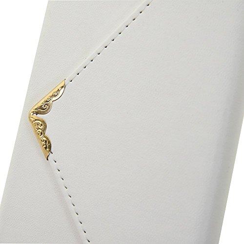 Wkae Case Cover Case Color Solid V Fermeture style Enveloppe Motif étui en cuir PU Case Wallet Cover avec Dragonne pour Apple iPhone 6s Plus (5,5 pouces) ( Color : Black , Size : IPhone 6s Plus ) White