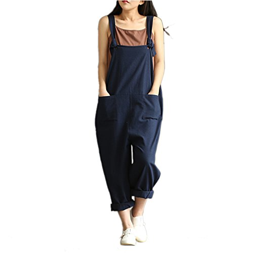 Sumchimamzuk Damen Retro Latzhose Sommerhose Jumpsuits Trousers Bib Pants Chinesisch XXL/EU L Blau