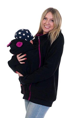 Divita 3in1 Tragejacke Umstandsjacke mit süssen Bärchen Ohren für Tragetuch Babytrage Fleece für Baby und Mama 46 (L/XL (40/42), Schwarz/Rosa)