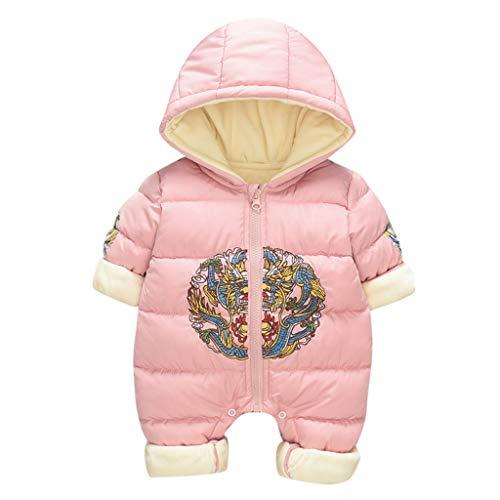 Livoral Baby Winterjacke Neugeborenes Baby Baby Boy Floral Rüschen Bär Jumpsuit Jumpsuit Jumpsuit Set(Rosa,18-24 Monate)