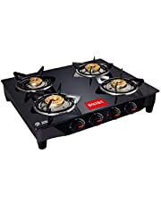 Baltra Glimmer Glass Top 4 Burner Gas Stove Black (2 Year Warranty with Doorstep Service)