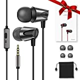 Kuulaa Wired In Ear Kopfhörer, Ear Ohrhörer Headphone Kopfhörer in Ears Headset Audio Kopfhörer Earphones mit Ohrstöpseln und Mikrofonfür iPhone Samsung Huawei Sony Xiaomi 3.5mm Gerät (Schwarz)