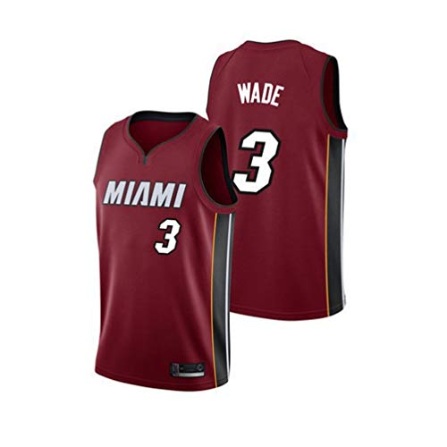 Pilang Basketball-Trikot Jersey, Miami Heat, Dwyane Tyrone Wade # 3, atmungsaktiv schnell trocknend Weste (Color : Red, Size : L)