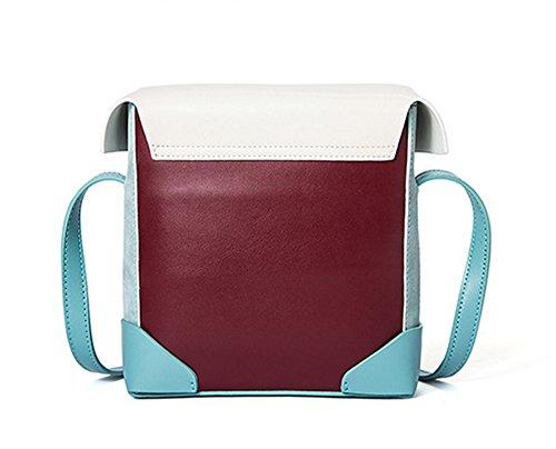 XinMaoYuan Herbst und Winter schlagen kleine Quadratische Tasche Einfache Pfeil Tasche Retro Schulter diagonal Handtaschen aus Leder Wein rot mit weiß