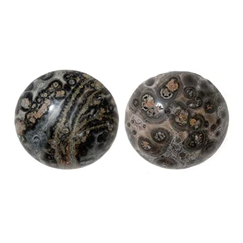 Leopard Skin Agate Gemstone Round Flat-Back Cabochons 18mm (2 Pieces)