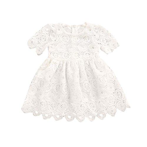Kinderbekleidung,Honestyi Kleinkind Säugling Baby  Mädchen  Blumen Spitze Kurz Ärmel Prinzessin Formal Kleid Outfits Weiße Kleider Spitzenkleider Spitzenkleider Partykleider (12M/80CM, Weiß)