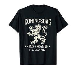 Königstag-orange T-Shirt Entwurf - niederländischer Löwe T-Shirt