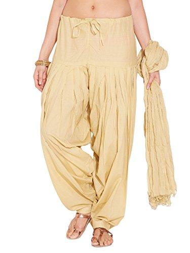 Stylenmart Ladies Beige Cotton Regular Fit With Dupatta Dupatta Patiala Set