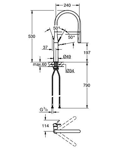 Grohe – Essence Spültischbatterie mit herausziehbarer Profibrause, Chrom - 2