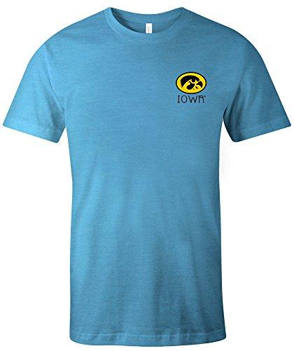 Image One NCAA Iowa Hawkeyes Erwachsenen-T-Shirt, Aztekenmuster, quadratisch, kurzärmlig, Triblast, Größe XL, Aqua