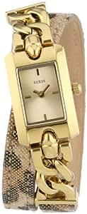 Guess - W0053L2 - Montre Femme - Quartz Analogique - Cadran Doré - Bracelet Cuir Multicolore