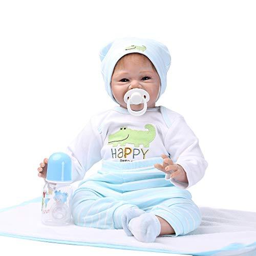 -Puppe Mit Blauen Kleidern, Socken Und Hut 55cm / 21.65in Silikon-Nette Lebensechte Spielwaren Frühe Kindheit - EIN Perfekter Schlafender Partner ()