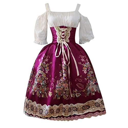 YueLove Damen Gothic Midi Kleider Vintage Cold Shooulder Lantern Halbarm Floral bedrucktes Swing Kleid Halloween Cosplay Kleid Mittelalter Renaissance Cocktailkleid Abendkleid -