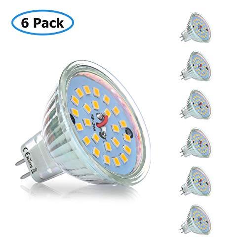 KINGSO MR16 LED GU5.3 Lampe 4W 12V LED Leuchtmittel 400lm Warmweiss Ersetzt 40W Halogen LED Reflektorlampe mit GU5.3-Sockel led Spot Abstrahwinkel 120 ° 3000K Nicht Dimmbar 6 Pack