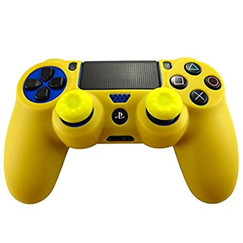 Stillshine PS4 Silicone Skin Protection Soft Case Cover For Sony Playstation 4 PS4 Slim PS4 Pro Dualshock Controller x 1 + Thump Grip x 2 (Yellow)