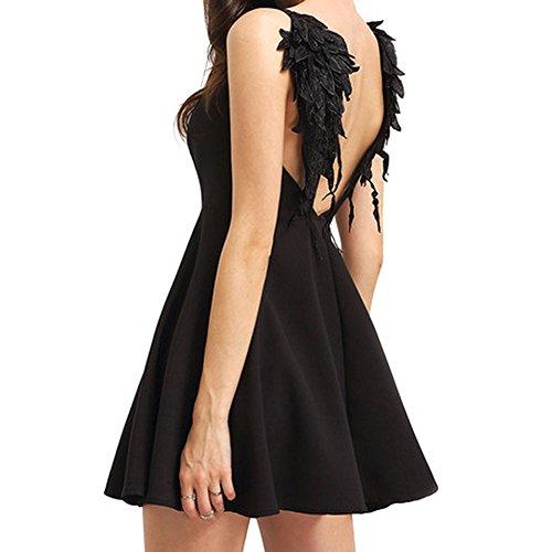 Donne Angel Wings Vestiti Strappy Sleeveless Swing Mini Cocktail Dress Angel Wings Strappy senza maniche Swing Mini abito da cocktail Aggiornamento nero