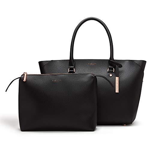 LaBante - Damen Tasche - Sophie - schwarz elegant große hochwertige Frauen Handtasche Tote Schultertaschen Umhängetasche Shopper Henkeltasche Damentasche Vegan PU Leder