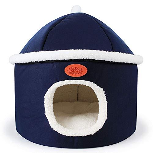 Pet's Nest Blau Stricken Tuch Kante Katze Nest Herbst Und Winter Mongolischen Nest Lamm Samt Katze Nest 42 * 42 cm -