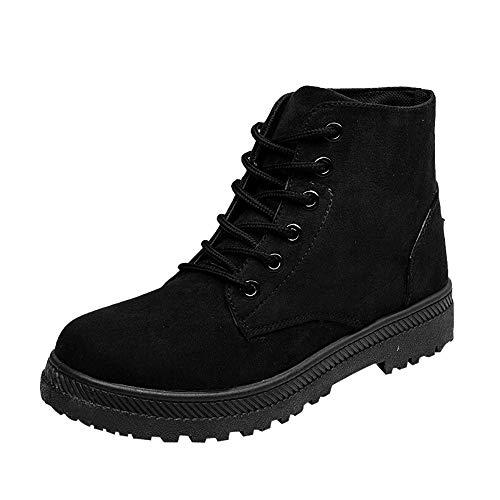 (MYMYG Damen Stiefeletten Casual Canvas Schuhe Student Flache Schuhe Schnürstiefel Lace Up Schuhe Dicke Sohle Wasserdicht Keilstiefel Boots Warmer Kurzschaft Stiefeletten)