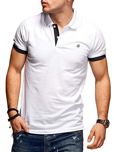 JACK & JONES Herren Poloshirt Polohemd Kurzarmshirt (L, White/Tap Shoe) -