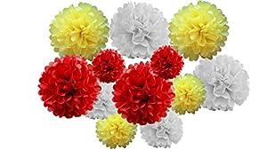 Paquete de 12 unidades de pompones de papel de seda para colgar guirnaldas para decoración de bodas y fiestas (sombra roja/amarilla, mezcla de 20 cm y 25 cm)