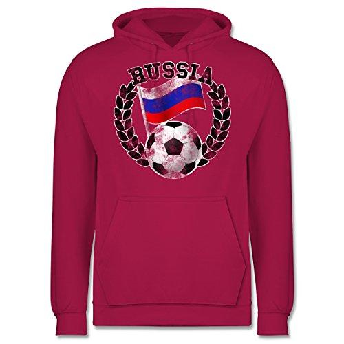 EM 2016 - Frankreich - Russia Flagge & Fußball Vintage - Männer Premium Kapuzenpullover / Hoodie Fuchsia