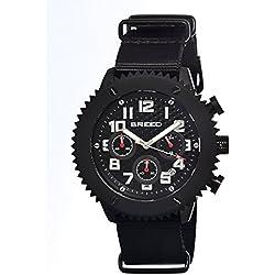 Breed brd1501–Montre pour hommes, bracelet en cuir couleur noir