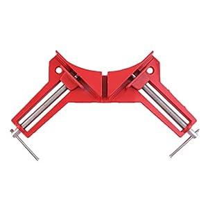 Profesional de 90 grados de ángulo recto Marco de imagen Soporte de abrazadera de esquina Kit de mano de carpintería Soporta una fuerza de mayor intensidad Kaemma(Color:Red & Silver)