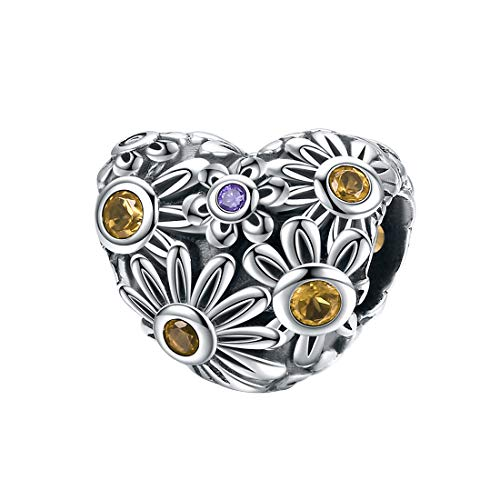 925 Sterling Silber Charm Bead Fit Armband Halskette Heart Shaped ()