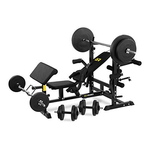 Gymrex Panca Multifunzione con Pesi Inclusi per Esercizi GR-WB50S (120 kg, 280 kg Peso Totale,...