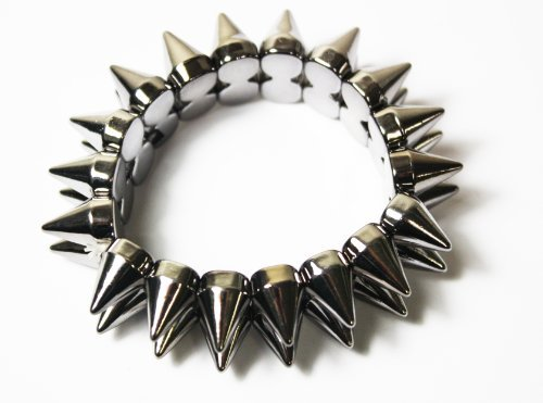 Punk Style Silver Elasticated Spiky Bracelet